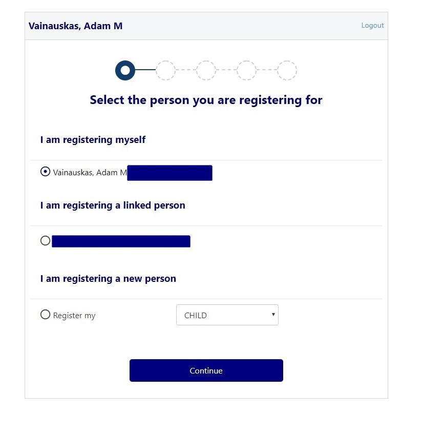 PlayFootball select registering person page